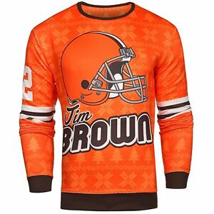 NFL Men's Cleveland Browns Jim Brown #32 Retired Player Ugly Sweater