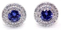 Sterling Silver Tanzanite & Diamond 3.12ct Stud Earring (925) Free Box