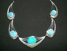 RARE L. Dragsted Danish 925 Sterling Silver GENUINE Blue Fire OPAL Necklace 17""