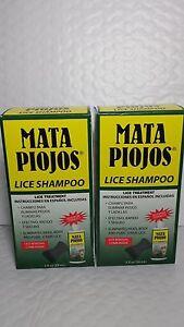 2 LICE SHAMPOO MATA PIOJOS (PACK OF 2) 2 FL OZ EACH COMB INSIDE MADE USA 03/24