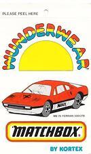 Matchbox MB-70  Red Ferrari 308 GTB Wunderwear by Kortex Mint undies 1970's tag