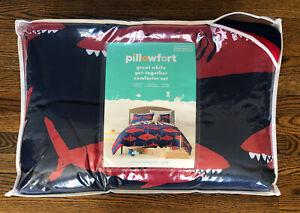 NEW! Pillowfort Great White Shark Full Queen Comforter Set w/ Shams Blue Red
