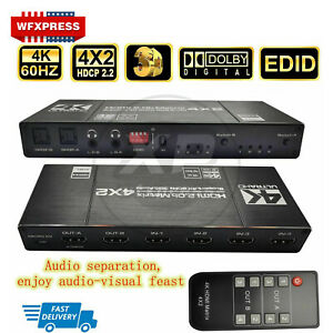 4K HDMI Matrix 4X2 Switcher Splitter with Toslink Spdif Audio out L+R Stereo 3D