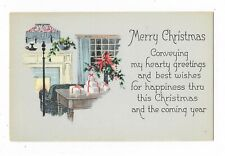 VINTAGE CHRISTMAS POSTCARD CHAIR PRESENTS GIFTS FIREPLACE LAMP POINSETTIA CHAIR