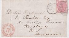 GREAT BRITAIN 1874 Cover with GB (Scott #11, Plate #15) to Cleveland, Ohio, USA