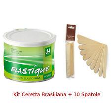 Ceretta Brasiliana Verde +10 Spatole -Resina Elastica depilazione viso,bikini