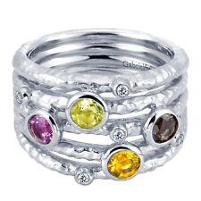 Sterling Silver Multi-Band Round Gemstone Modern Ring Brushed Hammered Wide NWB