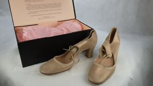 Repetto Leather Palest Old Gold Dancing Mary Jane Mid Block Heel Shoes UK 7 New