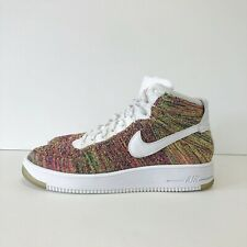 Sz. 10.5 2015 Nike Air AF1 Ultra Flyknit Mid White Multicolor 817420-700 HTM