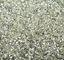 "Czech Glass Seed Beads Size 11/0 "" SILVER LINED CRYSTAL "" Loose 50 Grams"