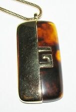 Vintage Givenchy 70's Gold Tone Faux Tortoise Shell Pendant & Necklace G Logo