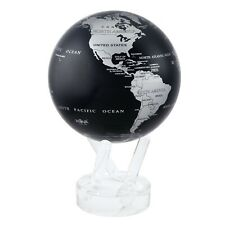 MOVA Silver Black Metallic Rotating Motion Globe 4.5 Inch Spinning Moving Earth
