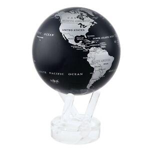 MOVA Silver Black Metallic Rotating Motion Globe 4.5 Inch Spinning Moving Earth