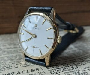Gents Vintage Omega 268 1960 Gold Plated Subsidiary Champagne Dial Watch Working