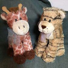 "Set of 2 Soft Plush Animals 12"" ""Golden Bear Co"" Giraffe and Tiger    DARLING!"