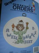 A Well-Balanced Diet Counted Cross Stitch Kit & Frame -Short Orders 5 x 7 In