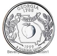 1999 Georgia State Quarter Philadelphia Denver 2 coins Uncirculated Ungraded