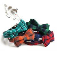 Pet Puppy Collar Cat Dog Necklace Adjustable Cute Plaid Bow Tie Neck Strap New
