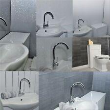 12 X Diamond, Platinum Chrome, Grey Marble, White Gloss, Tile Bathroom Panels
