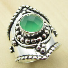 Authentic GREEN ONYX BOYS' Ring Size UK M ! Silver Plated Over Solid Copper NEW
