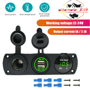 12V Dual USB Charger Power Socket & Green LED Voltmeter Switch Panel Car Boat RV