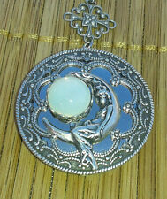 Moon Goddess Selene (aka Luna) silver locket with vintage glass moon stone
