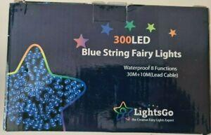 LightsGo 300 LED Blue String Fairy Lights Waterproof Plug In - 30M+10m Lead