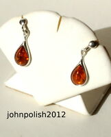 Delicate Baltic Amber Tears Earrings with Silver 925