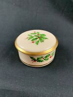 "Lenox 3"" Round Holly Berry Porcelain Trinket Box Red Berries Gold Trim"