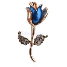 Vintage Blaue Rose Rose Brosche Dekor Brooch Pin mit Strass Blätter