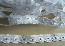 """50mm//2/"""" White Cotton Broderie Anglaise Gathered Frilled  Lace Remnant Pack"""