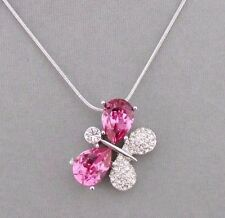 Butterfly Pendant Necklace Pink Sparkly Austrian Crystal Fashion Jewelry NEW