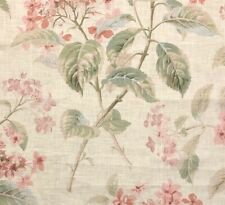 COLEFAX & FOWLER Eloise Pink Green Floral Linen Remnant New