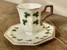 Mini Shamrock Cup And Saucer Christmas Ornament