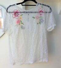 Zara Ivory Lace Floral Embroidered Top, Size M UK 10 New