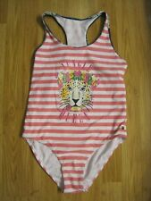 Juicy Couture Girls Pink & White Striped One Piece Swimsuit - Size 14 New