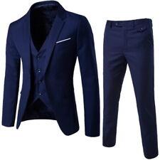 3Pcs Men's Fit Suits Blazer Jacket Tux Vest Waistcoat Trousers Wedding Formal