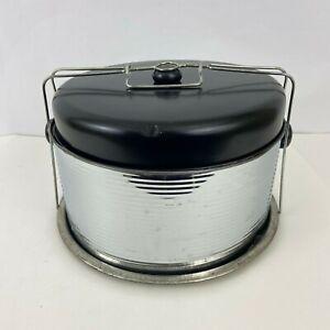Vintage Pie Carrier & Cake Taker Metal Retro Black Shiny Silver MCM Tin Locking