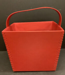 New Crate & Barrel Red Leather Magazine Tote Storage Basket Large