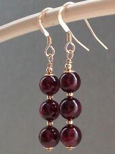 Beautiful Round Garnet Gemstones 14ct Rolled Gold Drop Earrings