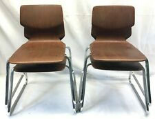 Four Flototto Mid Century Modern School Stacking Chairs