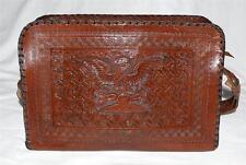 Vintage Mexican Aztec Eagle Devouring Snake Dark Brown Tooled Leather Handbag