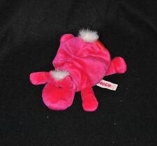 Peluche doudou hippopotame couché NICI rose fushia coeur rouge 17cm allongé NEUF