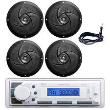 "Pyle PLMR20W Boat Headunit Receiver, (4) 5.25"" 180W Slim Style Speakers, Antenna"
