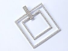 18Kt NINI COLLECTION Round Cut Diamond Square White Gold Pendant 2.75Ct
