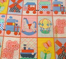 Baby quilt top cheater fabric lightweight VTG 70s Calico Pink Elephant 31x44