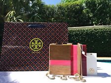 TORY BURCH COLOR CUBE MINAUDIERE CLUTCH PINK MULTI NWT $350 & GIFT BAG