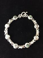 Vintage Sterling Silver Bracelet Abalone Inlay Round Chain Link Mexico Luster 7""