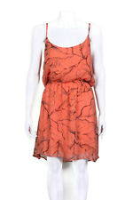 GYPSY 05 Silk Orange Floral Leaf Print Spaghetti Strap Flowy Blouson Dress sz L
