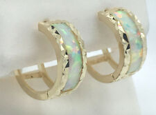 Diamond Cut GENUINE OPAL 14k Yellow Gold HUGGIES EARRINGS ** Free Shipping **